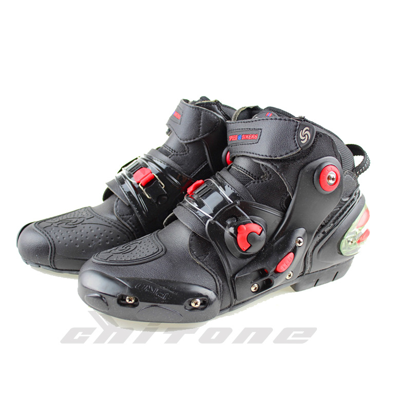 Pro biker ankle leather Motobotinki motorcycle boots men racing bota moto motor bike shoes motorboats for motocross black(China (Mainland))