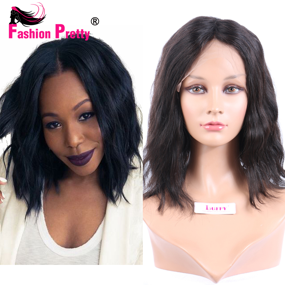 Short Bob Human Hair Wigs Natural Wave Brazilian Virgin Hair Full Lace Wigs Lace Front Wigs Wavy Human Hair Wig 130 Density