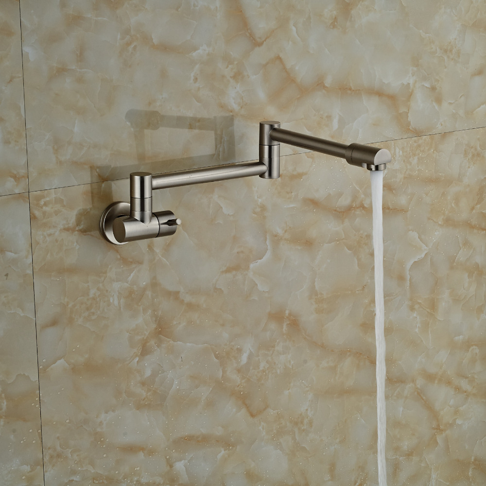 Wholesale And Retail Nickel Brushed Wall Mounted Kitchen Faucet Bathroom Faucet Tap Extent Spout Single Handle Cold Water Tap(China (Mainland))