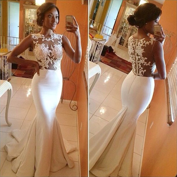 2015 White Lace Applique Sheer Illusion Mermaid Prom Dresses Sweep Train Formal Evening Dress White Wedding Party Bridal Gowns