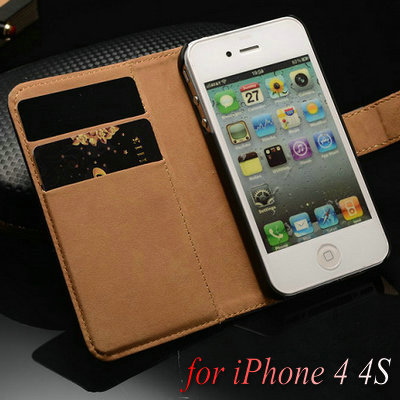 Genuine Leather Wallet Stand Case for iPhone 4 4S Flip Phone Case for iPhone4 with Card Holder 2 styles Muti Colors(China (Mainland))