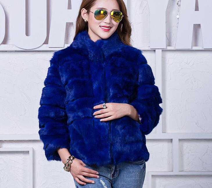 Натуральный мех куртка женщины подлинный реальный мех пальто для зимы женщин кролика меха пальто плюс Размер на заказ