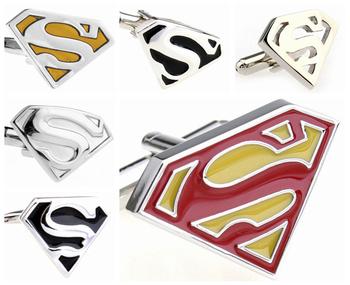 Fashion Cufflinks Jewelry Marvel Comics Super Hero Superman Designer Men's Cuff links Metal Cufflink French Shirt Accessories