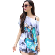 2016 New Summer Plus size Women T Shirt Fashion Casual Print Bat Short Sleeve Loose lady T-shirt Tops Tees Femme Long tshirt(China (Mainland))