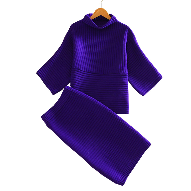 Women Knitted Suit 2016 New Fashion Women Clothing Sets Knitting Tops Skirt Set Woman Solid Turtleneck Sweaters Skirts Suits