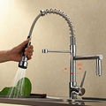 NEW Deck Mount Pull Out Kitchen Faucet Two Swivel Spouts Spring Mixer Tap Chrome Finish Single