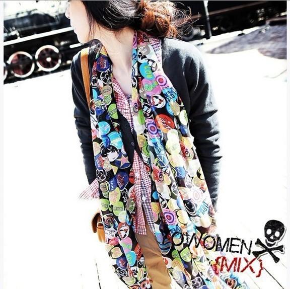 Бесплатная доставка 2016 новинка корейского осень женский микс точка точка печать шифоновый шарф женщины шали бесплатная доставка