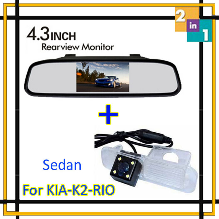 Parking System High Resolution Auto 4.3 Color Car Rear View Reverse Mirror Monitor + Ccd Camera for K2 Rio Sedan Parking Assist(China (Mainland))