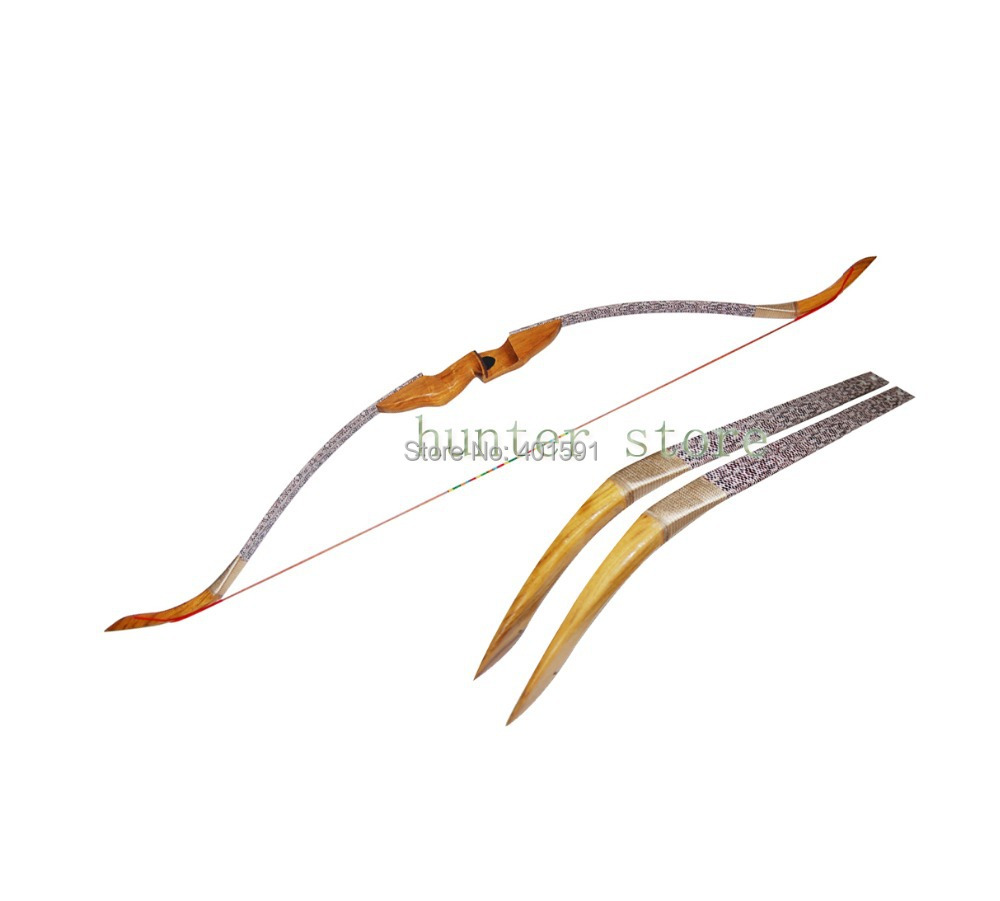 2pcs wood hunting recurve take down bow RH for outdoor target shooting 45lbs for carbon arrow