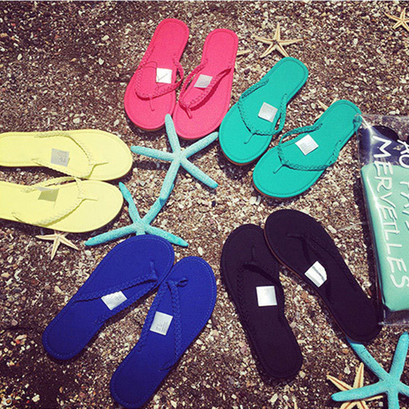 Woman Shoes 2015 comfortable woman sandalias flats Fashion Womens Flat Casual Summer Beach Flip Flops Lady Slippers Sandals(China (Mainland))