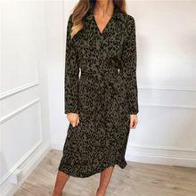סתיו ארוך שמלת 2020 פנאי בעלי החיים הדפס מנומר נשים אלגנטיות שמלת תורו למטה צווארון שמלות Slim המפלגה Vestidos(China)