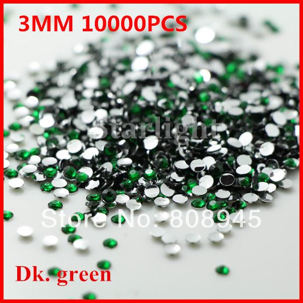 Rhinestone nail designs for nail salon 10000pcs/lot 3MM DK. Green color acrylic nails supplies decoration glitter(China (Mainland))