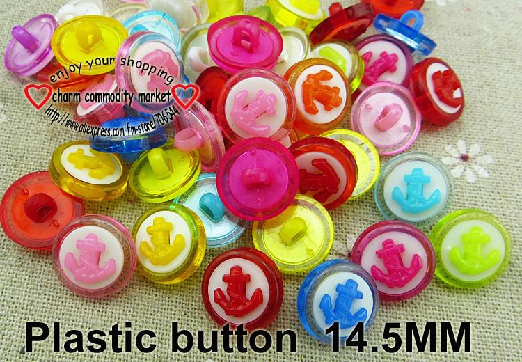 200PCS 14.5mm anchor PLASTIC button SHIRT KID clothes buttons P-157(China (Mainland))