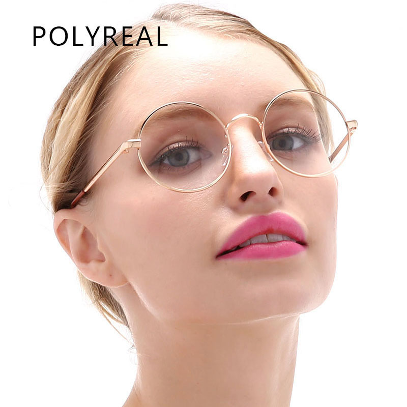 polyreal vintage round clear optical glasses frame women men fashion circle metal gold eyewear for office