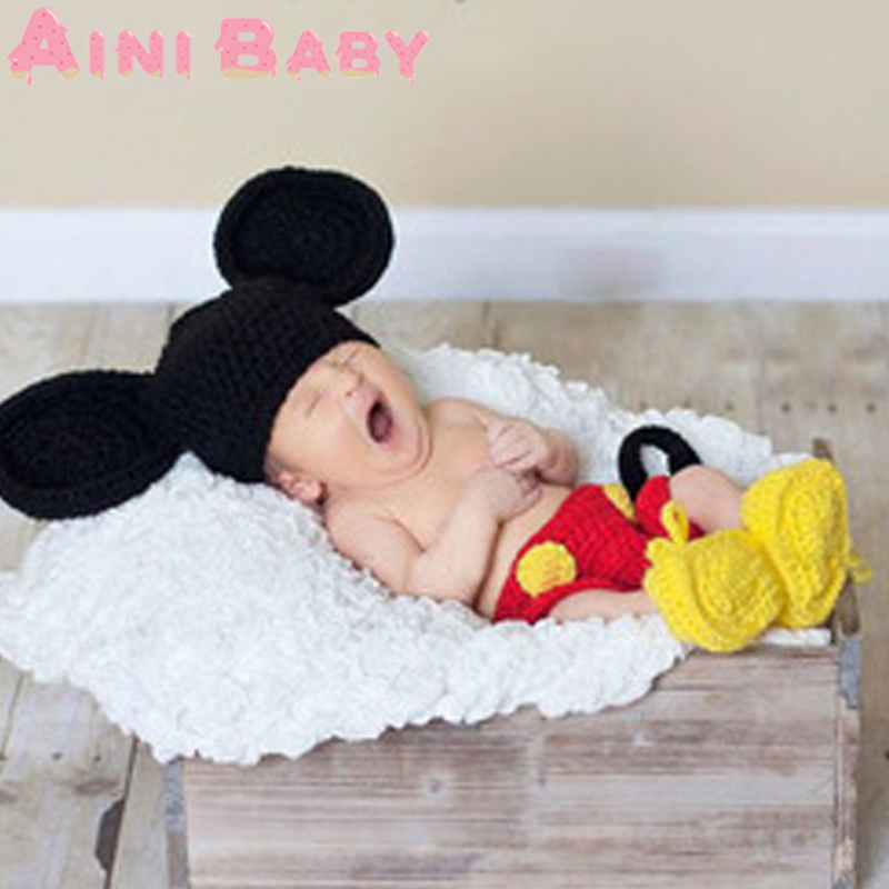 Lovely! 2015 Mickey Cap Soft Newborn Crochet Outfits Baby Minions Hat Baby Cap Newborn Photography Props All For Child Clothing(China (Mainland))