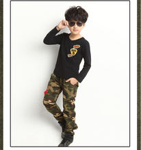 New Spring and Autumn paragraph boy pants, camouflage pants big virgin boy sports pants, comfortable cotton material