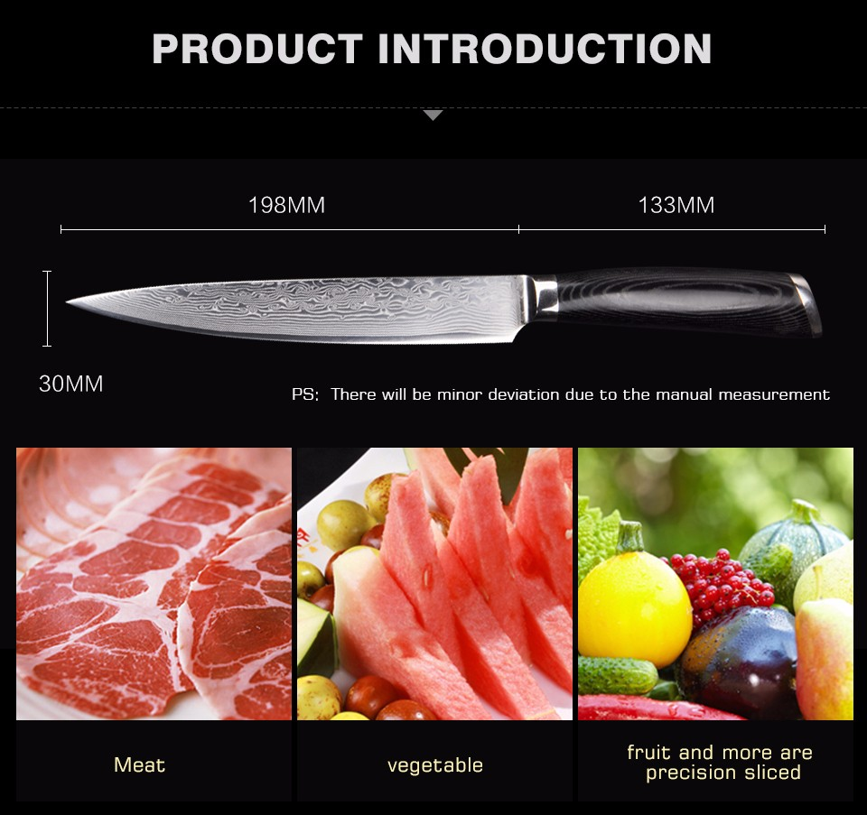 Buy High Quality 8 Inch Damascus Kitchen Slicer Knife VG10 Blade 63 Layers Steel Damascus Cutting Meat Knife With Micarta Handle cheap