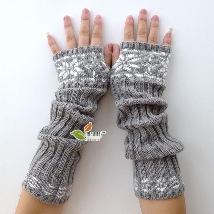 MiC Fashion Arm Warmers Women Men Unisex Snow Flake Pattern Sleeve Long Gloves Crochet Knit Stretch Design Winter Use(China (Mainland))