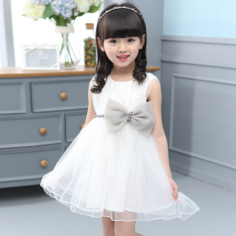 White Girls Lace Dress Pearl Fashion Tulle Tutu Dress Baby Girl Bow-Knot Kids Clothes Girls Summer 2016 3 Years 2016ds038(China (Mainland))