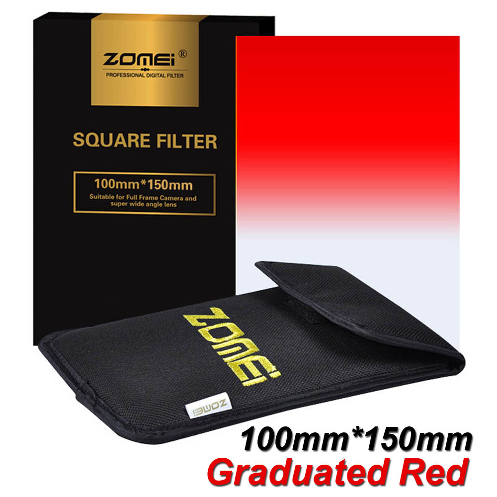 """New Zomei Gradual Red Square Filter 100*150mm 100mm*150mm Lens Filter for Cokin Z-PRO Series Lee Hitech 4X6"""" Holder 100x150mm(China (Mainland))"""