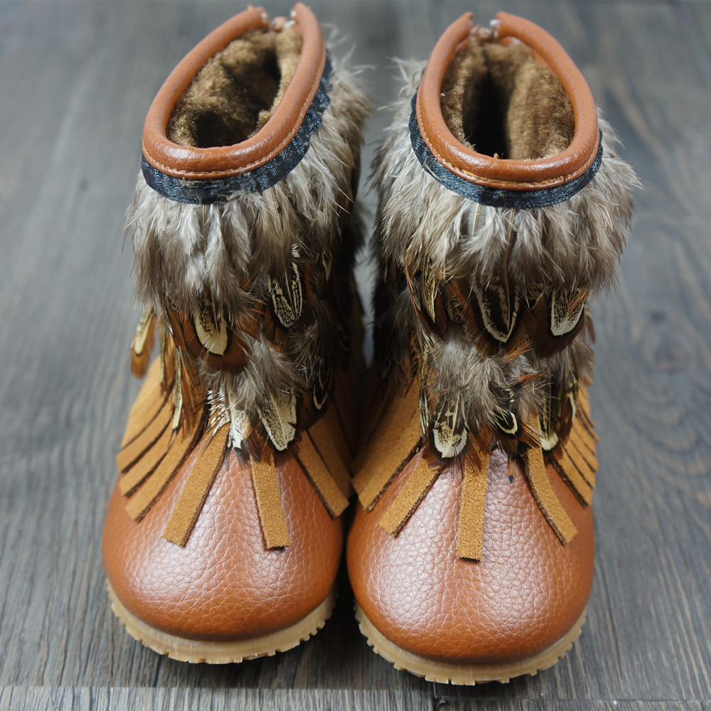 Genuine Leather Baby Moccasins with Fur baby shoes Baby boots For Winter Tassel Feather Girls boots Free shipping
