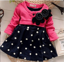 Free Shipping new fashion 100% Cotton Baby girl dresses Kids Children's Lovely princess Two Tones Splicing Polka Dots Dress(China (Mainland))