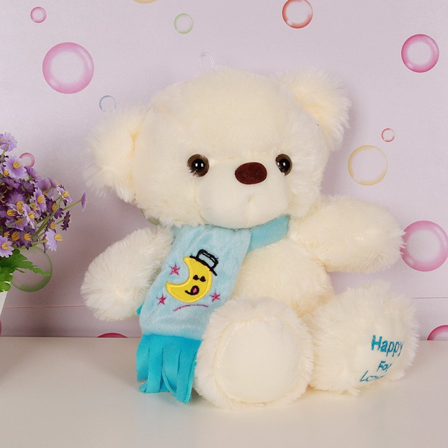 Christmas gifts teddy bear plush toy with blue/pink scarf soft cotton teddy bear toy wholesale free shipping(China (Mainland))