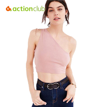 Slim One-shoulder Push Up Bra Tank Top Summer Sexy Tees 2016 Fashion High Quality Cotton Vest Women Halter Crop Top