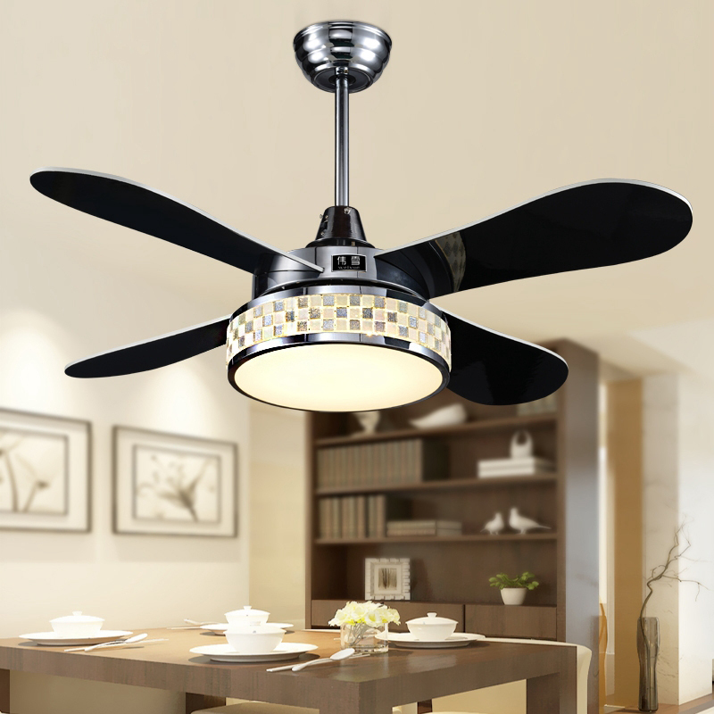 42 Inch Fans With Lights Modern Crystal Mosaic Design