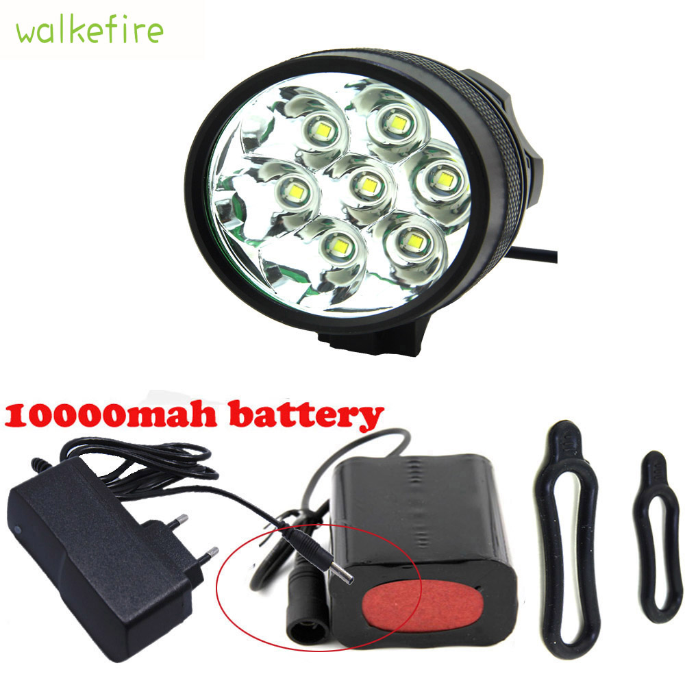 Walkfire Bike Accessories Waterproof 10000Lm 7 x XML T6 LED Bicycle Light Bike Front FlashLight 18650 Rechargeable Battery Pack()