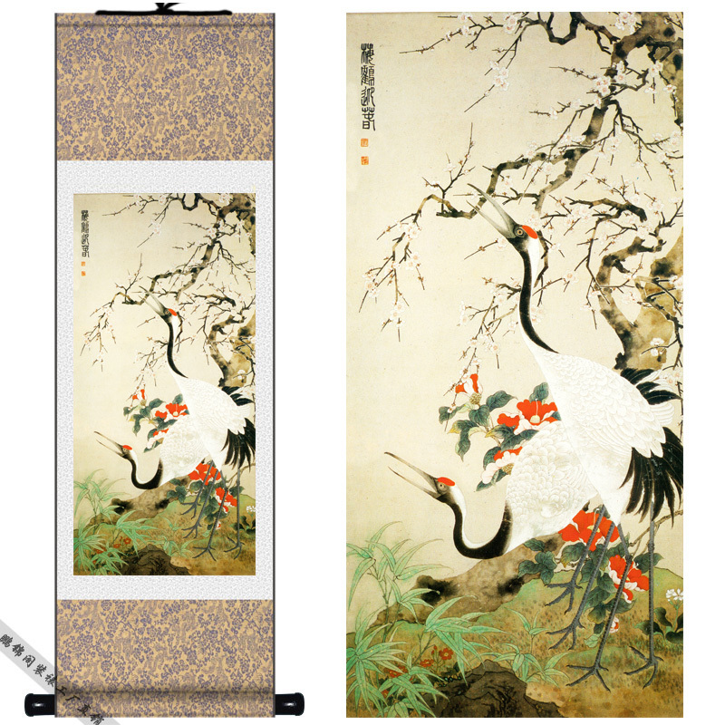 Silk Chinese Red Crane hok Camellia Plum ink watercolor flower and birds art canvas wall damask picture framed scroll painting(China (Mainland))