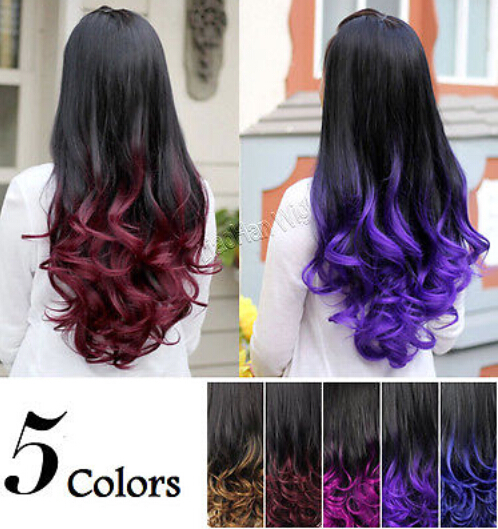 Free Shipping On Sale 3/4 Half Wig Two Tone Hair Fall Ombre Wig Colored Curly Wig Gradient Wig(China (Mainland))