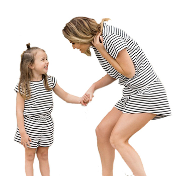 Mother And Daughter Dress 2016 Mother Daughter Matching Outfits BabyAnd Mother Family Look Clothing Casual Striped Twins Dresses