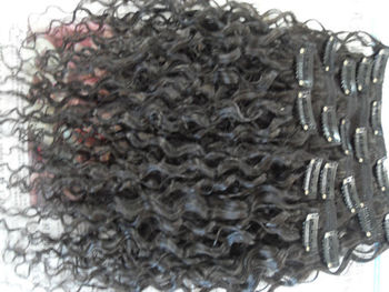 hair extensions beaty hair products kinky curly clip in weft 8pcs 10 -30inch natural black color with clips