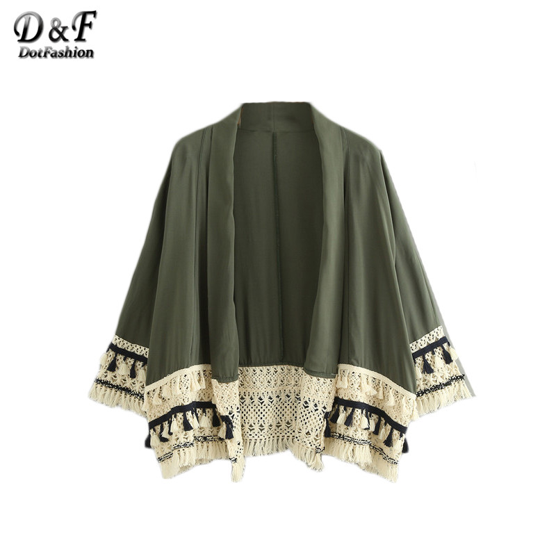 Dotfashion Summer Beach Wear Loose Tops Women Tassel Trimmed Long Sleeve V Neck Color Block Open Front Kimono(China (Mainland))