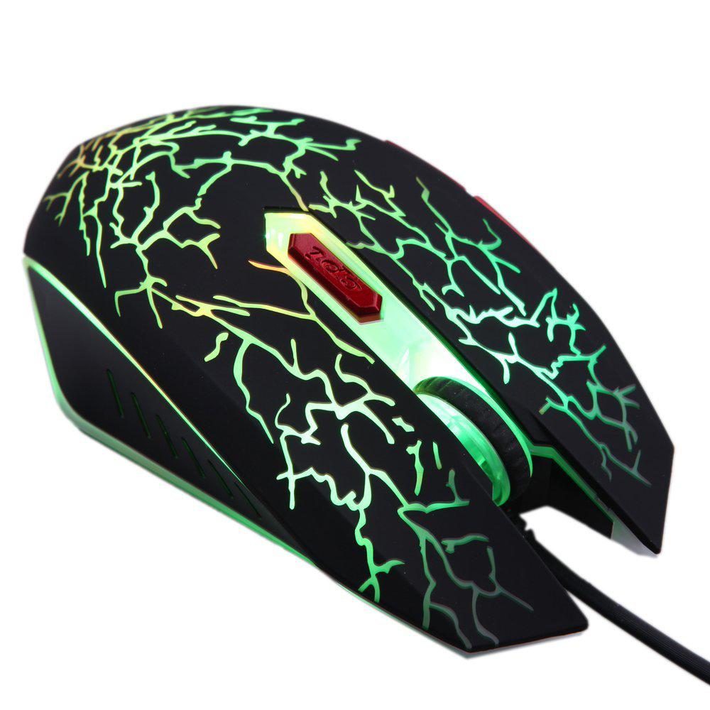 GTFS-Adjustable 2400DPI 6 Buttons Optical USB Wired Gaming Game Mouse LED for PC Laptop