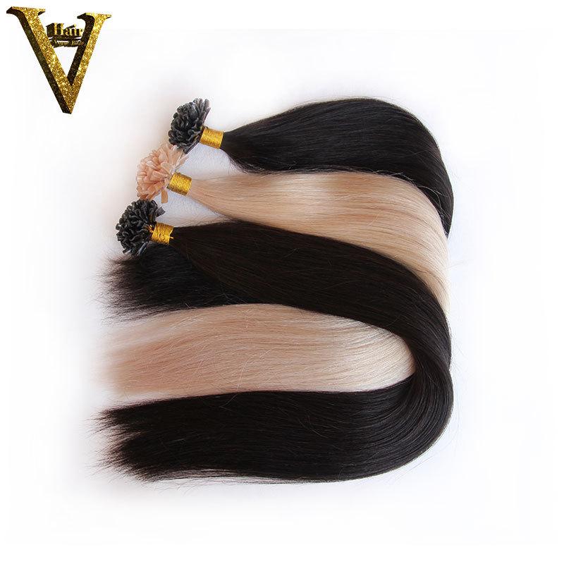 7A Remy Peruvian Hair Keratin Nail/U Tip Human fusion hair extension 1g/strand Pre Bonded