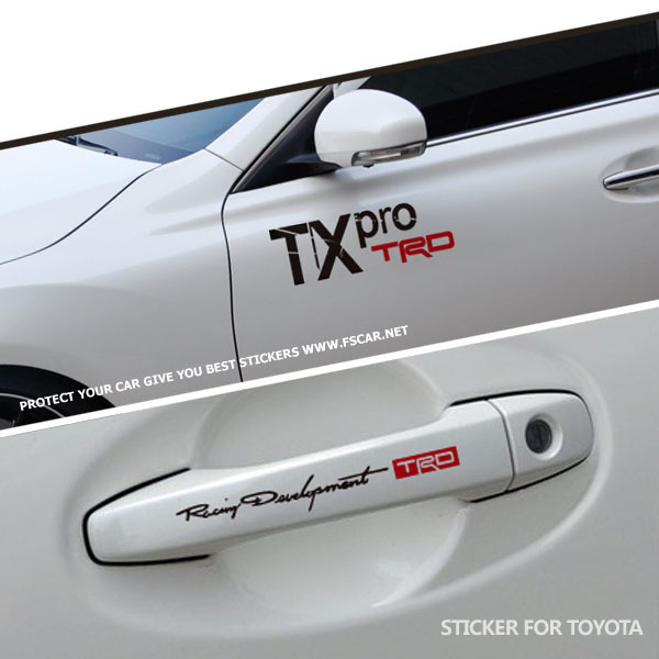 TRD / TX pro Racing Development Door Handle Hellaflush Car Styling Reflective Vinyl Sticker Refitting Exterior Decals for Toyota(China (Mainland))