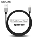 MFi iPhone Cable Nylon USAMS Mental 2 1A Fast Charge MFI Lightning Cable for iPhone 5