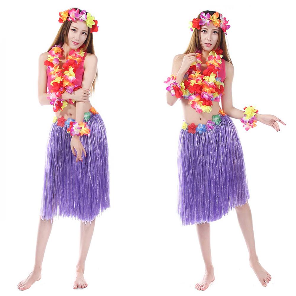 8 Color 5PCS/set Plastic Fibers Women Grass Skirts Hula Skirt Hawaiian costumes 60CM Ladies Dress Up Festive & Party Supplies(China (Mainland))