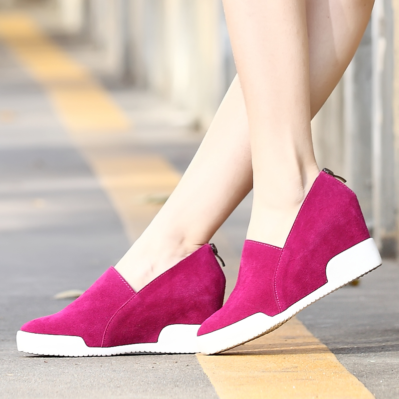 New 2015 badge wedges high lacing casual elevator shoes female canvas shoes Genuine leather wedge casual shoes(China (Mainland))
