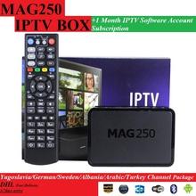 Envío gratis 1 Meses Mag250/Mag245 MAG250 IPTV suscripción de software con 1 UNIDS Original/MAG245 MAG IPTV CAJA