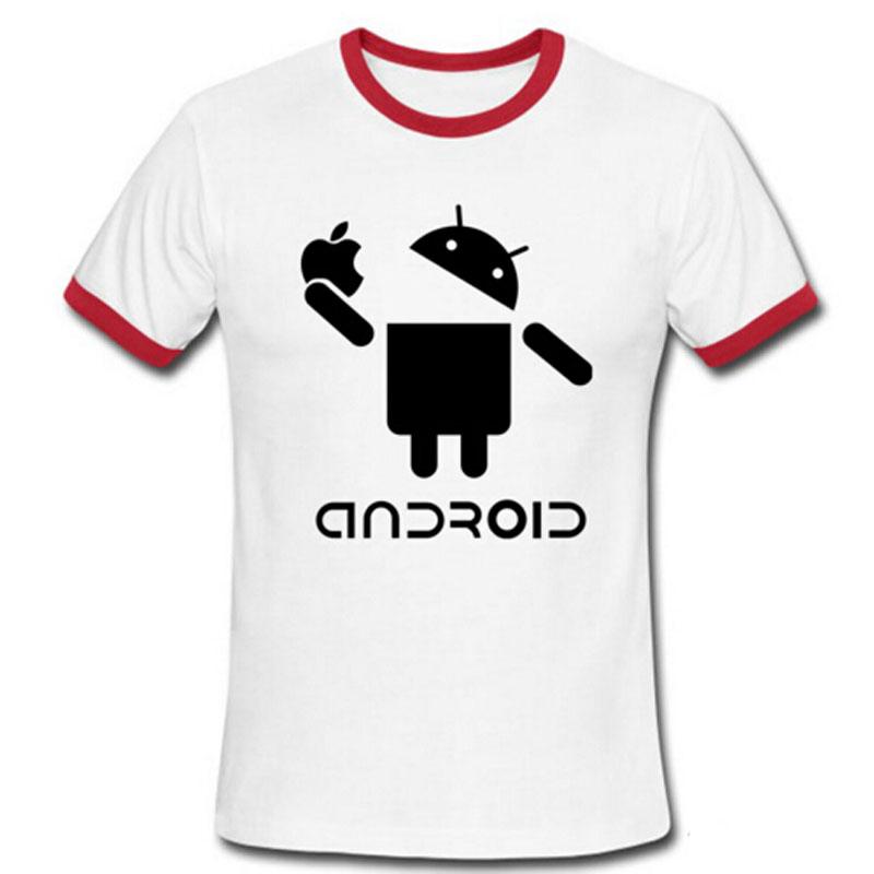 Fashion Men T Shirts Android Robot Male t-shirt apple humor logo printed funny t shirt short sleeve Round Neck Ringer Tees(China (Mainland))