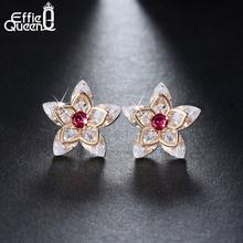 Hot Trendy Luxury Crystal Flower Stud Earrings For Women New Fashion Elegant Gold Plated Zircon Earrings DDE24(China (Mainland))