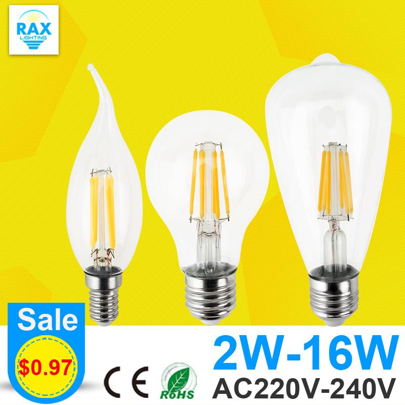 Antique Retro Vintage LED Edison Bulb E27 LED Bulb E14 Filament Light 220V Glass Bulb Lamp 4W 8W 12W 16W Candle Light Lamp(China (Mainland))