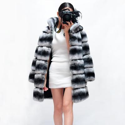 High Quality Soft Chinchilla Fur Coats For Women Real Genuine Chinchilla Rex Rabbit Fur Coat Long Jacket Winter Warm Outerwear(China (Mainland))