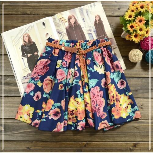 2014 NEW skirt women Hot sale ,26 Colors Pleated Floral Chiffon Women Ladies Cute Mini Skirt Belt Include(China (Mainland))