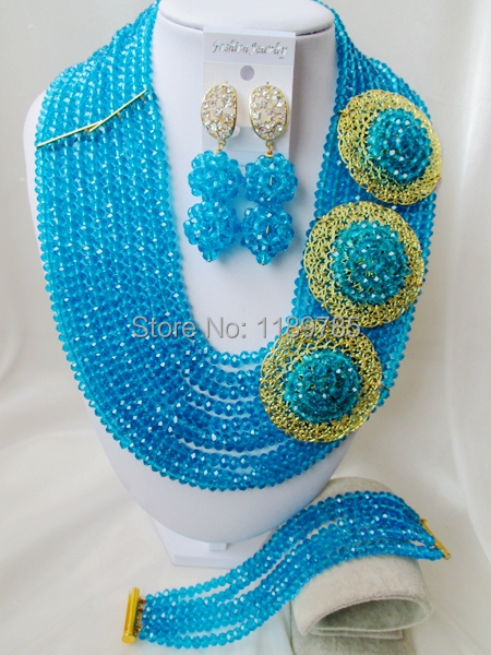 Fashion Nigerian African Wedding Beads Jewelry Set , Turquoise blue Crystal Necklace Bracelet Earrings Set A-8613<br><br>Aliexpress