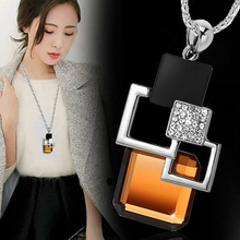 Buy Fashion New Long Necklace&Pendant Classic Geometric Square Big Crystal Necklaces Women Sweater Chain Accessories Jewelry for $3.54 in AliExpress store