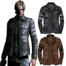 resident evil Lyon casual leather slim fit jaqueta couro motorcycle jacket male black Brown winter plus size xxxl YC756(China (Mainland))
